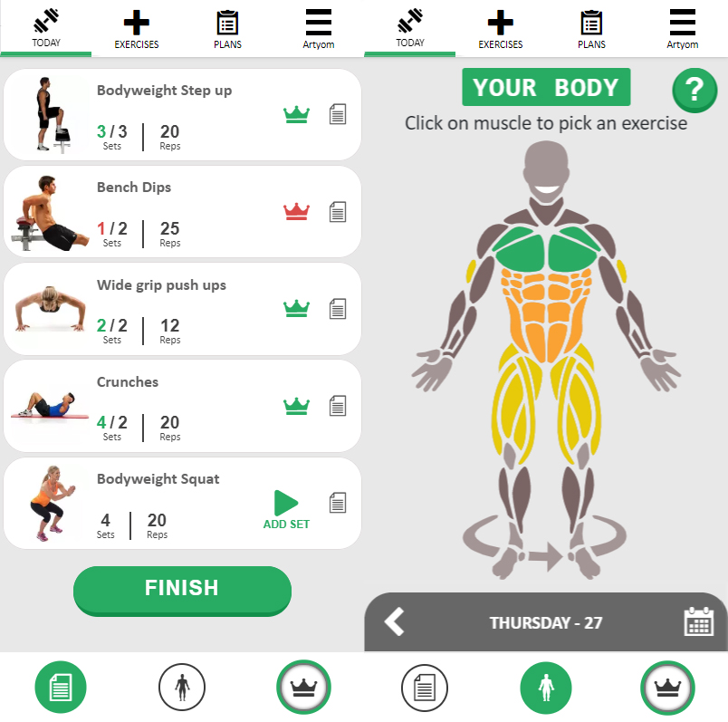 Exercises side by side with the avatar