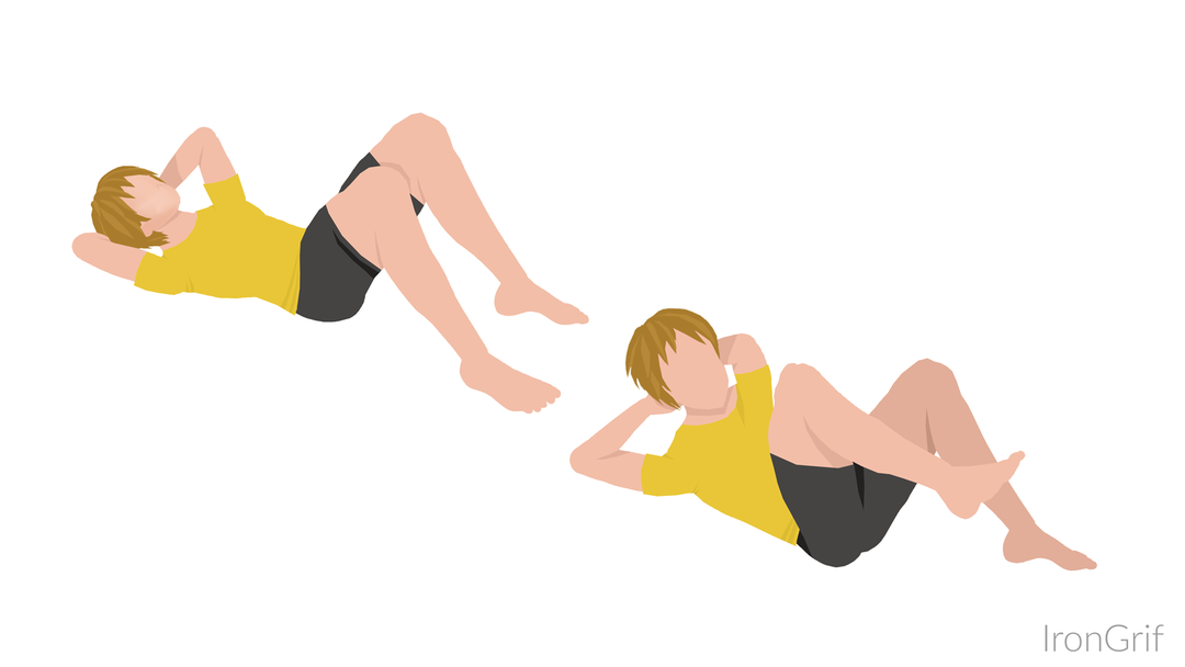 elbow to knee crunch side crunch exercise