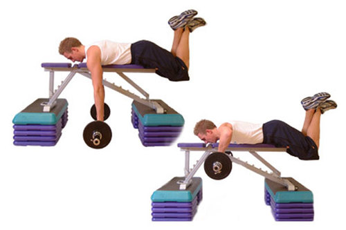 Show img prone lying bench barbell row back