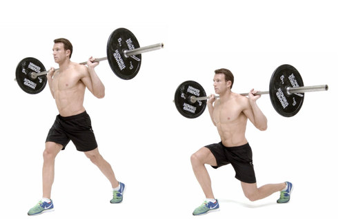 Show img standing lunge  barbell